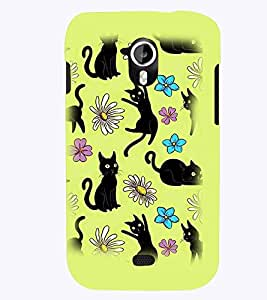 PrintVisa Cute Cartoon Cats 3D Hard Polycarbonate Designer Back Case Cover for Micromax Canvas HD A116