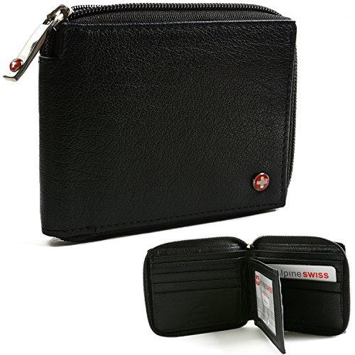 Alpine Swiss Zippered Bifold Men's Wallet with Deluxe Credit Card Flip Genuine Leather -Black