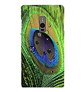 printtech Peacock Bird Feather Colorful Back Case Cover for One Plus Two ::One Plus2