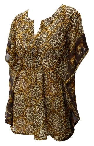 La Leela Brown Tiger Printed Chiffon Beach Tube Cover up