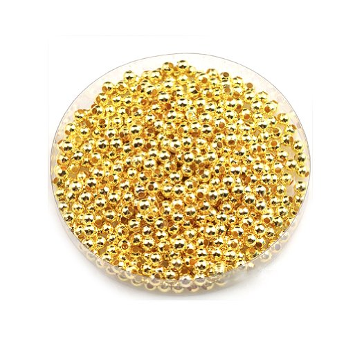 RHX 1000Pcs 3MM Gold Plated Round Ball Spacer