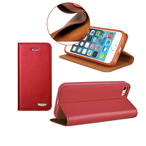 Pioneer Tech® Blueberry Luxury Genuine Leather Flip Cover Protective Cases For Apple Iphone 5 5S -Xd (Red)