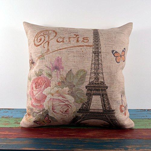 45X45Cm Retro Shabby Chic Pink Roses Paris Eiffel Tower Linen Pillow Case Cushion Cover front-1007131
