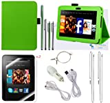 The Friendly Swede (TM) PU Leather Case Cover Bundle for Kindle Fire HD 7 Inch 2012 Release ONLY in Retail Packaging (NOT Compatible With Kindle Fire HD 7 2013 Release)