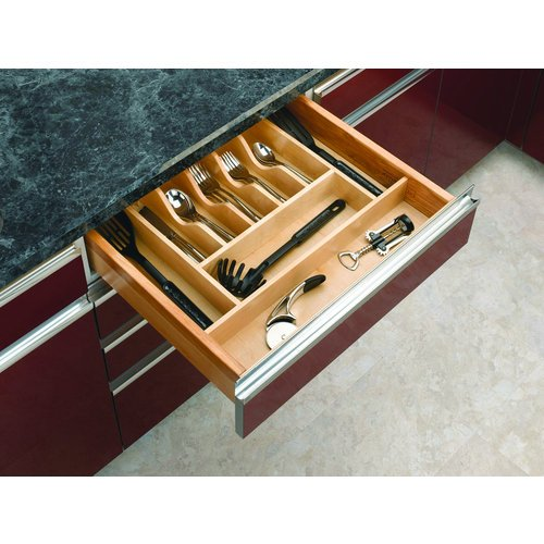 "Rev-A-Shelf 4Wct-3 4Wct Series 21"" Wide Trimmable Maple Cutlery Tray Insert, Natural Wood"