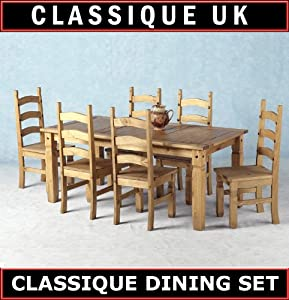 mexican corona 6ft pine 70 dining table set 6 chairs antique waxed kitchen home. Black Bedroom Furniture Sets. Home Design Ideas