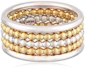 Sterling Silver Three-Row Two-Tone Rhodium and Yellow Gold Plated Ring, Size 8