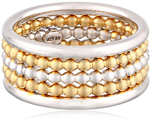 Sterling Silver Three-Row Two-Tone Rhodium And Yellow Gold Plated Ring, Size 6