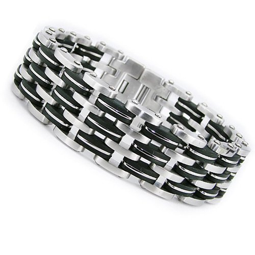 Triple Row Stainless Steel Men's Rubber Biker Bracelet 8.5