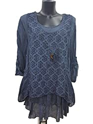 Italian Lagenlook Daisy 3 Piece Set Tunic Top & Scarf Lace detail One size