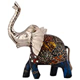 Shiva Enterprises Royal Elephant With Combination Of Wood And Metal - (14 Cm X 12 Cm X 3 Cm)