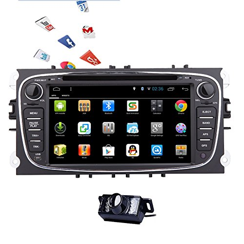 EinCar 7'' Android 5.1 Lollipop Quad Core Double 2 Din Car Stereo Touch Screen in Dash GPS Head Unit Car Radio Receiver for Ford Mirror Link/Bluetooth/subwoofer/wifi/1080p/Canbus+Backup Camera (Steering Wheel Play 2 compare prices)