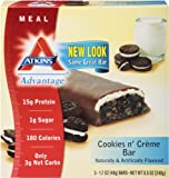 Atkins Advantage Cookies N Creme Meal Bar, 5 Count Bars, Net Wt. 8.5 Oz