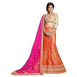 Manvaa Orange Colour Banglore Silk Lehenga Choli With Dupptta