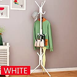 Styleys wrought iron coat rack hanger creative fashion bedroom for hanging clothes shelves, wrought iron racks standing coat rack (White)