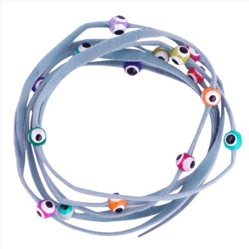 Evil Eye Lucky String Wrap Bracelet Anklet with Colorful Lucky Eyes - Protection Light Blue