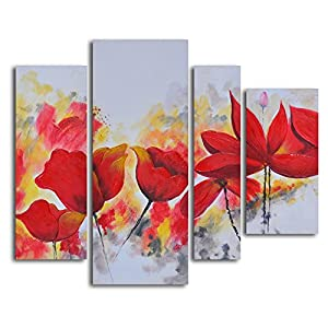 Amazon.com: TJie Art Hand Painted Mordern Oil Paintings, Enflamed Red