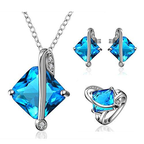 [Women Ocean Blue Crystal Stud Earring CZ Anniversary Jewelry Square Cut Cubic Zirconia Platinum] (Homemade Elephant Costume Ears)