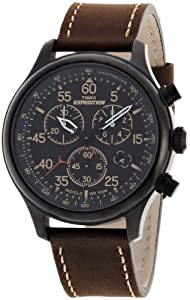 Timex Men?s T49905 Expedition Rugged Field Chronograph Black Dial Brown Leather Strap Watch: Watches