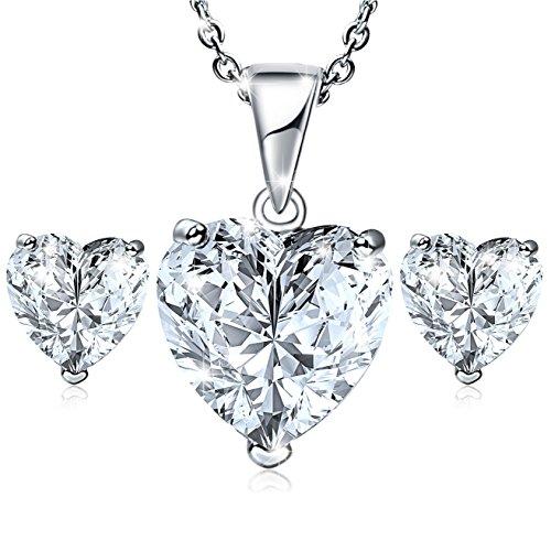 Set Collana & Orecchini Donna cristallo Cubic Zirconia Placcata oro bianco Ciondolo Pendente di Cuore Orecchini di Cuore gioielli elegante Regalo festa della mamma