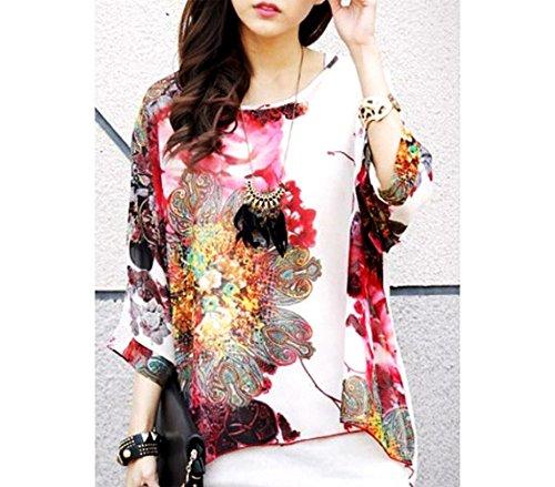 Blusa in chiffon oversize taglio asimmetrico maglia elegante e casual con stampa floreale bianca 005 .MWS