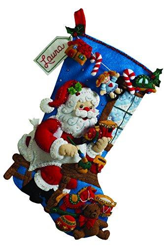 Bucilla 18-Inch Christmas Stocking Felt Applique Kit, 86165 The Workshop