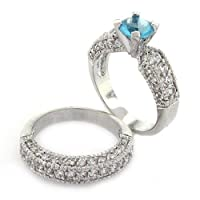 Classic 2-piece Wedding Set with Aquamarine CZ and pavé