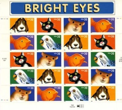 Bright Eyes Pets, Full Sheet of 20 x 32-Cent Postage Stamps, USA 1998, Scott 3230-34 - 1