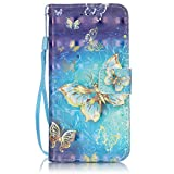 "iPhone 6S Case, iPhone 6 Wallet Case, Firefish [Card Slots] [Kickstand] Flip Folio Wallet Case Synthetic Leather Shell Scratch Resistant Protective Cover for Apple iPhone 6/6S 4.7""-Butterfly"