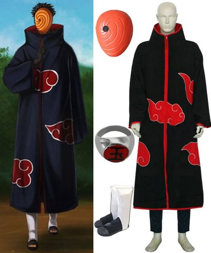 [Naruto Itachi Tobi Hood cosplay costume and shoes set , size S] (Tobi Mask Costume)