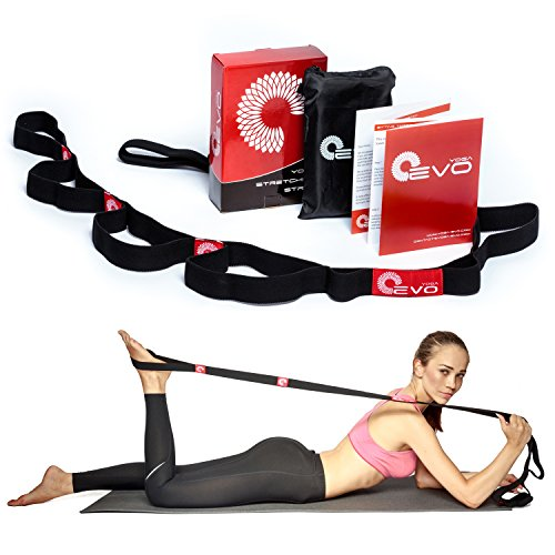 Premium Stretching Strap with Loops by Yoga EVO + eBook & 35 Online Video Exercises, Elastic Stretch Band, Leg Stretcher, Get Fit, Pilates Poses & Postures, Ballet Stretches, Mat Workout, Aerobic