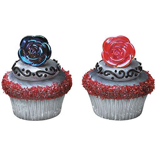 DecoPac Iridescent Black & Red Rose Cupcake Rings (12 Count)