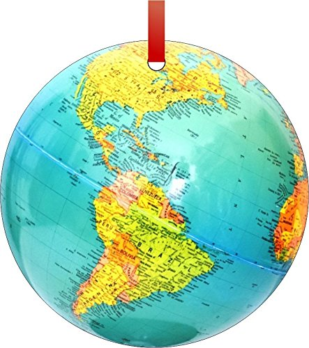 Globe-Double-Sided Round Shaped FLAT Aluminum Christmas Holiday Hanging Tree Ornament with a Red Satin Ribbon. Made in the USA!