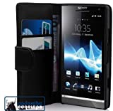 Cadorabo ! Sony Xperia S Leather Cover Wallet Book Style in black