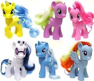 My Little Pony 3 Inch Set of 6 LOOSE Collectible Ponies [DJ PON-3, Trixie, Rainbow Dash, Pinkie Pie, Lemony Gem...