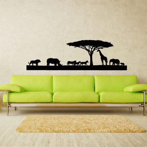 Wall Decal Art Decor Decals Sticker Skyline Animals Africa Giraffe Elephant Rhino Horse Tiger Tree (M191) front-363902