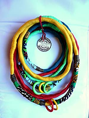 Unique/ Yarn wrapped Necklace/ African Wax Print Fabric Wrapped/ African Style/ Bright Colours/ Eye Catcher