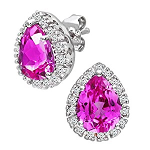 Ariel 9ct White Gold Teardrop Earrings, Pink Sapphire and Diamond Stones