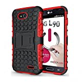 CaseMachinee Flip Kick Stand Hard Dual Armor Hybrid Bumper Back Case Cover For LG L90 D410 Dual Sim - Red