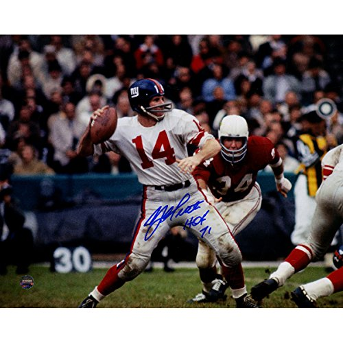 YA Tittle Signed Throwing 8x10 Photo w/