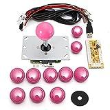 アーケードゲーム ジョイスティック MECO 基板タイプ ジョイスティックレバー コントロール ファイトスティック エンコーダ アーケードゲーム 部品 セット ピンク 5V