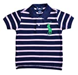 Boys Ralph Lauren Polo Shirt Navy & Pink Striped BIG PONY (POLO 01)Sizes 1-8 years