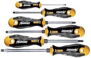 Felo 07157 53167 Ergonic Slotted and Phillips Screwdrivers, Set of 6