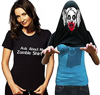 Ask About My Zombie Chick Shirt T-Shirt ##1336 (Adult Small, Black)