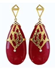 Aastha Jain Red Zade Quartz Drop Sterling Silver(18k Gold Plated) Earring For Women