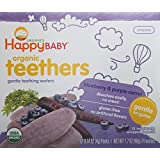 Happy Baby Gentle Teethers Organic Teething Wafers, Blueberry and Purple Carrot, 12 count, (Pack of 6)