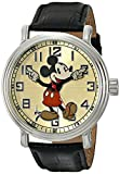Disney Men's 56109 Vintage Mickey Mouse Watch with Black Leather Band