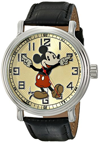 "Disney Men's 56109 ""Vintage Mickey Mouse"" Watch with Black Leather Band 0"