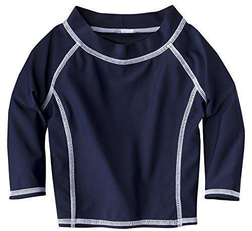 Baby Infant Long Sleeve Rashguard Shirt- Classic Navy (S/6 Months) front-938822