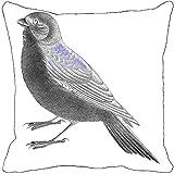Leaf Designs - Black And White Bird Cushion Cover Ii